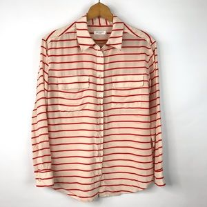 Equipment Striped 100% Silk Button Front Blouse